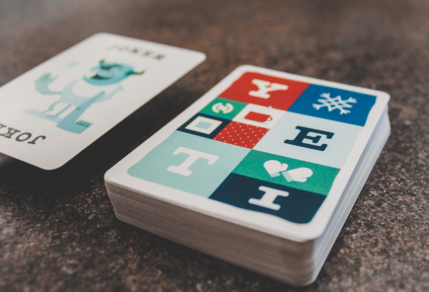 Custom designed playing cards.